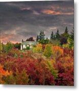 Sunset Sky Over Farm House In Rural Oregon Metal Print