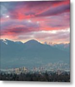 Sunset Sky Over Port Of Vancouver Bc Metal Print