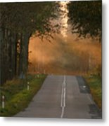 Sunset Somewhere On The Road Metal Print
