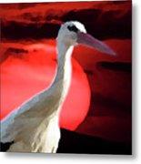 Sunset Stork Metal Print