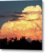 Sunset Storm Clouds Over The Marsh Metal Print