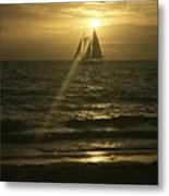 Sunset Through Sailboat Metal Print