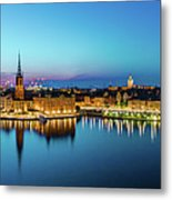 Sunset To Blue Hour Panorama Over Gamla Stan In Stockholm Metal Print