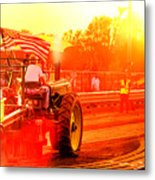 Sunset Tractor Pull Metal Print