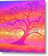 Sunset Tree Cats Metal Print