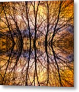 Sunset Tree Silhouette Abstract 1 Metal Print