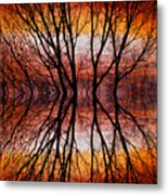 Sunset Tree Silhouette Abstract 2 Metal Print