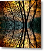 Sunset Tree Silhouette Abstract 3 Metal Print