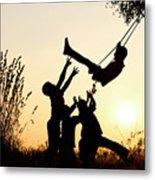 Sunset Tree Swing Metal Print