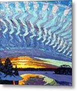 Sunset Waves Nite Metal Print