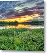 Sunset West Crooked Lake Metal Print