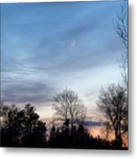 Sunset With Crescent Moon Metal Print