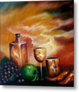 Sunset With Green Apple Metal Print