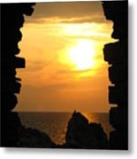 Sunset With Stone Frame Metal Print