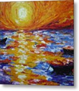 Sunset With Three Boats Metal Print
