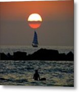 Sunset With Yacht And Surfer Metal Print