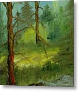 Sunshine Amidst The Trees By The Stream Metal Print