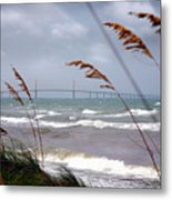Sunshine Skyway Bridge Viewed From Fort De Soto Park Metal Print