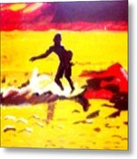 Sunsplashed Surf Metal Print