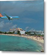 Sunwing Airline At Sxm Airport Metal Print