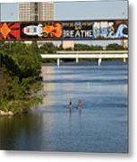 Sup Stand Up Paddle Board Couple Row Under The Focus One Point And Breathe Metal Print