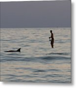 Sup With Dolphin Metal Print