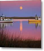 Super Moon Over Nauset Beach Cape Cod National Seashore Metal Print