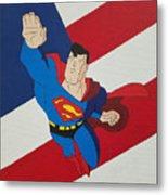 Superman And The Flag Metal Print