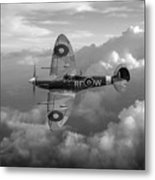 Supermarine Spitfire Vb Black And White Version Metal Print
