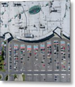 Supermarket Roof And Many Cars In Parking, Viewed From Above. Metal Print