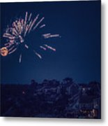 Supermoon And Fireworks  Metal Print