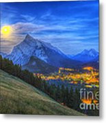 Supermoon Rising Over Mount Rundle Metal Print