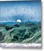 Supermoon Rising - Painted Effect Metal Print