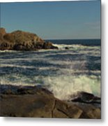 Surf At Nubble Light Metal Print