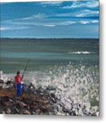Surf Fishin Metal Print