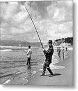 Surf Fishing At Ocean Beach Metal Print