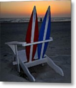 Surfboard Chair Sunset Metal Print