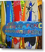 Surfboard Fence-the Amazing Race  Metal Print