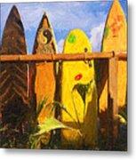 Surfboard Garden Metal Print
