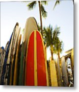 Surfboards At Waikiki Metal Print