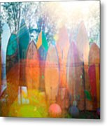 Surfboards Sun Flare Metal Print by Monica and Michael Sweet