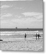 Strollin On Dog Beach Metal Print