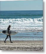 Surfer And His Board Metal Print