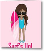 Surfer Art Surf's Up Girl With Surfboard #16 Metal Print