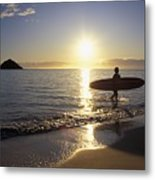 Surfer At Sunrise Metal Print by Ali ONeal - Printscapes
