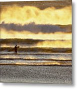 Surfer Faces Wind And Waves, Morro Bay, Ca Metal Print