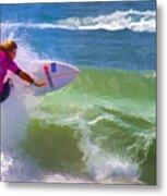 Surfer Girl Taking Flight Metal Print