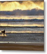Surfer Heads Into The Waves And Mist Metal Print