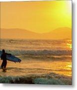 Surfer In The Golden Ocean Metal Print