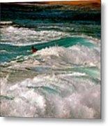 Surfer On Surf, Sunset Beach Metal Print